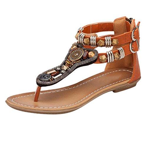 NiSeng Femme Rétro T-Strap Talon Bas Sandales Chaussures Été Peep Toe Tongs Flip Flops Marron