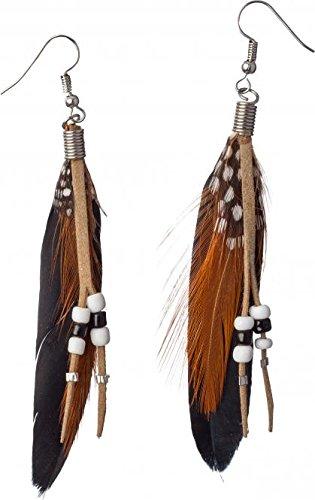 Feder Ohrringe Indianer Ohrhänger schwarz braun Federohrringe Neonparty -
