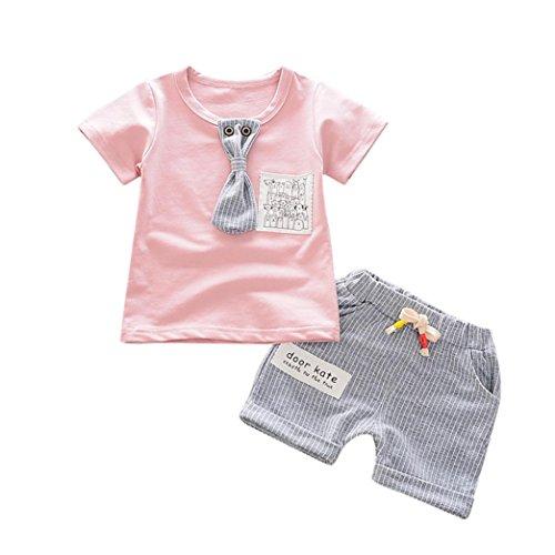 aby Kinder Kurzarm T-Shirt Tops + Gestreift Shorts Kurz Hosen Bekleidungssets Jungen Outfit Set Jungenkleidung Sommerkleidung Set Kindermode (3 Jahre, Rosa) (Mädchen Superman Outfit)