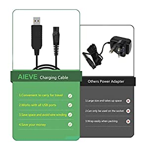 Shaver Charger Cable,AIEVE 8V 100mA Power Cord Cable for Philips Norelco OneBlade QP2530 QP2630 Hybrid Trimmer & Shaver(4ft,Black)