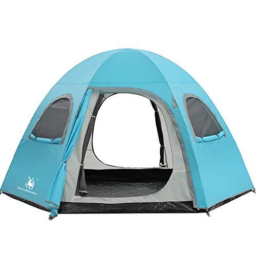 TYJH Spacieux, Anti-UVTent, tentes extérieures hexagonales 5-8 Personnes en Aluminium Rod épaississent la Double Couche imperméable au Vent Camping, 300 * 300 * 180