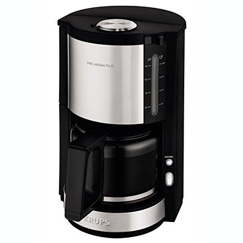 Krups KM321 Proaroma Plus Glas-Kaffeemaschine, 10 Tassen, 1100 W, modernes Design, schwarz mit Edelstahlapplikationen