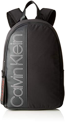 Calvin Klein Jeans Double Logo Round Backpack, Men s Black, 20x45x33 cm (B x 76e161fd764