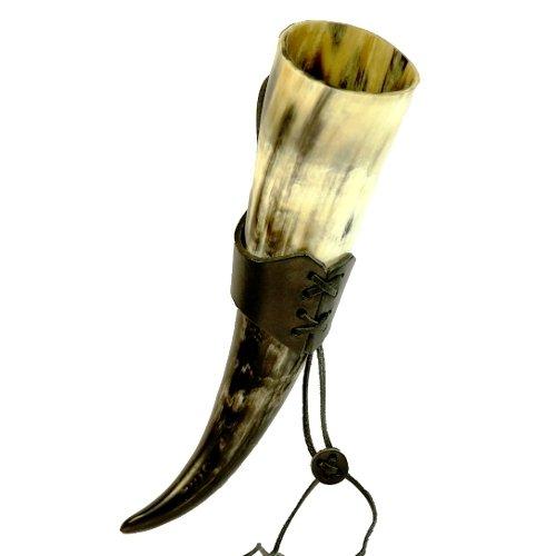 Trinkhorn ca. 0,3l mit Leder-Gürtelhalter Methorn mit Leder Halter