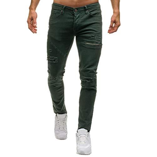 b84c8c5510273 Elecenty jeans da uomo casual pantaloni di jeans da uomo casual in denim  con cerniera elegante