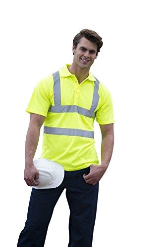 RTY70 RTY Warnschutz Poloshirt Arbeitsshirt Polohemd (bis Größe 5XL), Größe:XS;Farbe:Fluorescent Yellow - Seide Twill Shirt