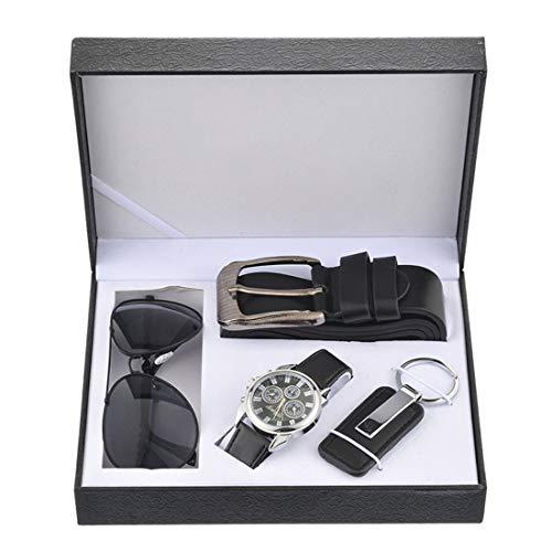 MJARTORIA Geschenke für Männer Freund Herren Armbanduhr Sonnenbrille Auto Schlüsselanhänger Ledergürtel Set