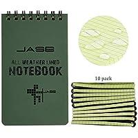 RETON 10 Piezas Cuadernos Impermeables, 3 x 5 pulgadas Bloc de Notas para Todo Tipo de Clima con Almohadillas de Steno Tácticas con Rejilla para Grabación de Actividades al Aire Libre (Verde Militar)