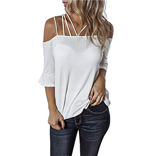 Embellished Neck Tee (Qmber Ostern 80er Jahre T-Shirt Top Damen Frühling Sommer Jahre Kostüm Night Parteien Tees Top 80er Party Kleider Off-The-Shoulder-Kurzarm lose einfarbig Größe/White,S)