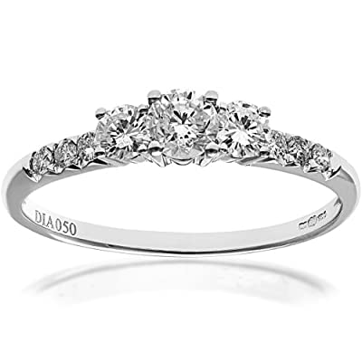 Naava Round Brilliant IJ/I Certified Diamonds18 ct White Gold Trilogy Engagement Ring