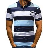Riou Polo Shirts Herren Slim Fit, T Shirts Männer Poloshirt Kurzarm Casual Basic T-Shirt Gestreift Patchwork Polokragen Polohemd Knöpfe Design Halbe Mode Persönlichkeit Tee (L, Blau)