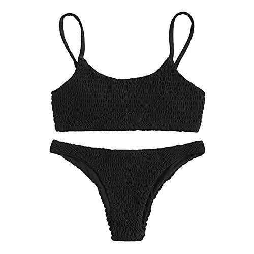 Go first Womens Badeanzug 2 Stück brasilianischen Bikini Set hoch geschnittenen Badeanzüge Bademode Beachwear (Farbe : Schwarz, Größe : US Size S = Tag L)