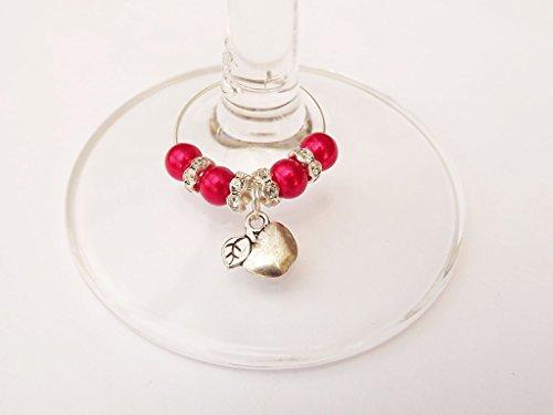 Preisvergleich Produktbild Versilberter Charm-Ring mit Kristallen für Weinglas, Motiv: Thank You, Silber, 1x Apple