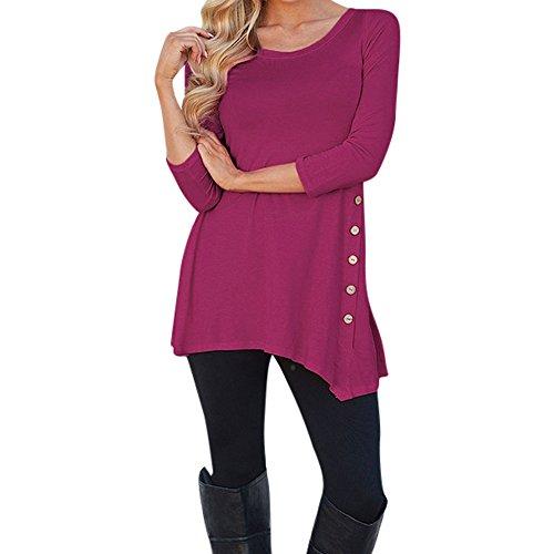 ESAILQ Frauen Oberteile Frau LangäRmlige, Lose Knopfleiste Bluse Einfarbig Rundhals Tunika T-Shirt(Small,Pink)