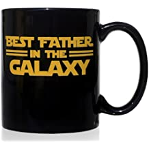 Taza mug desayuno de cerámica negra 32 cl. Modelo Best Father in the Galaxy
