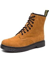 YORWOR Damen Stiefeletten paten Schnürhalbschuhe Stiefel Schnürstiefeletten Schwarz EU 36