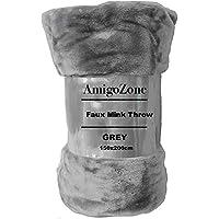 AmigoZone Soft Luxury Faux Fake Fur Mink Throw Sofa Bed Blanket (Silver Grey, Double)