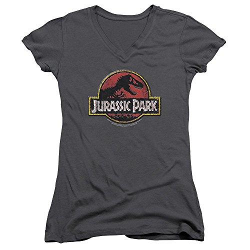 Jurassic Park Dinosaur Movie Spielberg Stone Logo Juniors V-Neck T-Shirt Tee