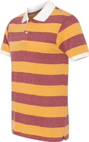 Alternativa Apparel–Eco Jersey Ugly Stripe Polo–1905–Eco True Bordeaux/Oro Burgundy/Gold