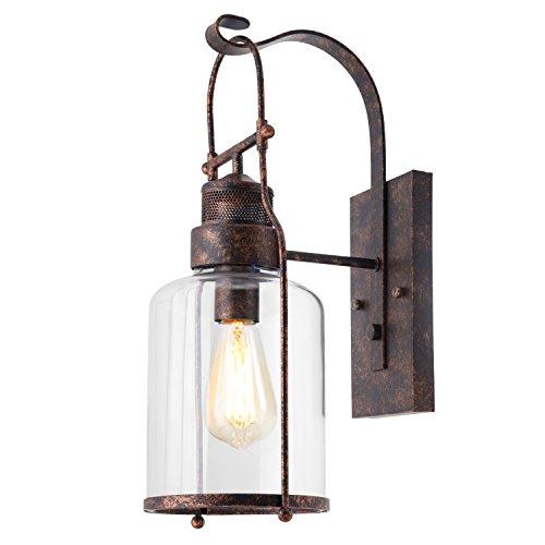 Vintage Wandleuchte, Frideko Retro-Stil Simplicity Rustikal kreative Glas Wandlampe für Loft Wohnzimmer Schlafzimmer Cafeteria Landhaus - Messing-tiffany-wandleuchte