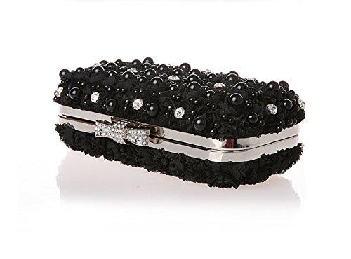 GSHGA Pochette Modo Delle Donne Sacchetti Di Sera Strass Portatili Messenger Bag Banchetti Confezione Fiori Romantici,Creamy-white Black