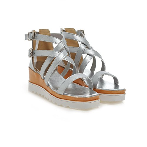 VogueZone009 Donna Finta Pelle Scamosciata Punta Aperta Puro Tacco Medio Heeled-Sandals Argento