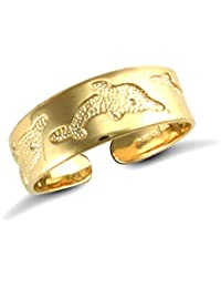 Jewelco London Ladies Solid 9ct Yellow Gold Leaping Dolphins Carved Flat Toe Ring