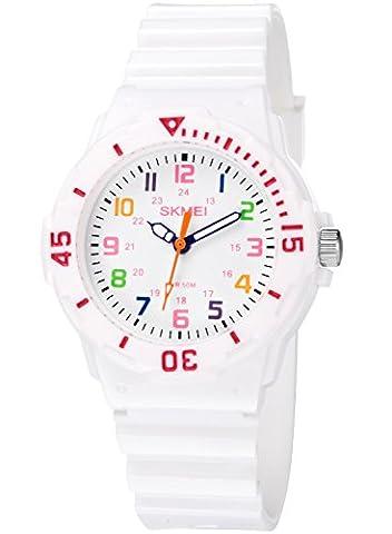 INWET Kinderuhren Wasserdichte Sport Quarz Armbanduhr für Mädchen und Jungen Weiß
