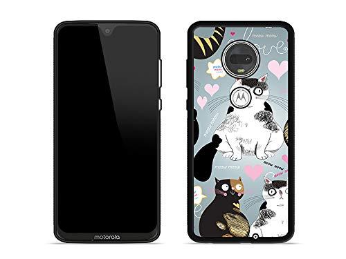 Moto G7 Plus - Hülle Aluminum Fantastic - Katzen und Herzen Handyhülle Schutzhülle Etui Case Cover Tasche für Handy ()