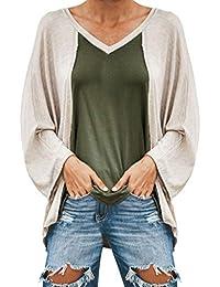 DEELIN LiquidacióN Blusa Moda Mujer Casual Casual Cuello En V Manga Larga Patchwork Loose Ladies Tops Camiseta Blusa