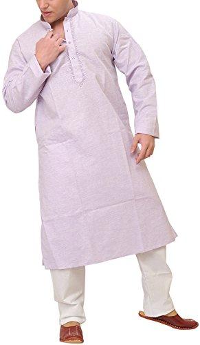 Exotic India Man's Plain Khadi Kurta Pyjama with Embroidery on Neck -...