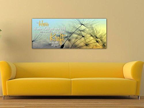 Dalinda® XXL-Wandbild Bibelspruch Bibel Leinwand Leinwandbild mit Spruch Der Herr ist mein Licht… 100x40cm Keilrahmenbild Kunstdruck Wandbild Panorama Leinwandbild LS129