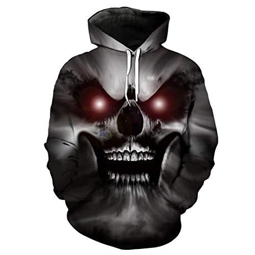 Rotäugiger Horror Dämon Skull Print 3D Kapuzenpullover Halloween -