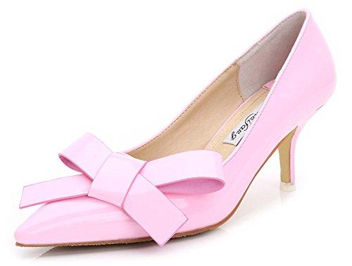 Aisun Femme Elégant Nœud Papillon Kitten Heel Escarpins Rose