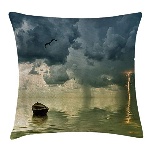 K0k2t0 Nature Throw Pillow Cushion Cover, Old Boat in The Ocean Near The Vivid Streak Bolt of Lightning with A Sea Gull Photo, Decorative Square Accent Pillow Case, 18 X 18 inches, Blue Green