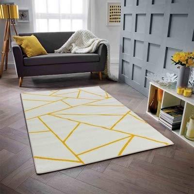 KOTON Prisma Moderner Wohnzimmerteppich - Dreieck, Wolle, Weiß/Gelb, 200 x 280 cm (Prisma Garn)