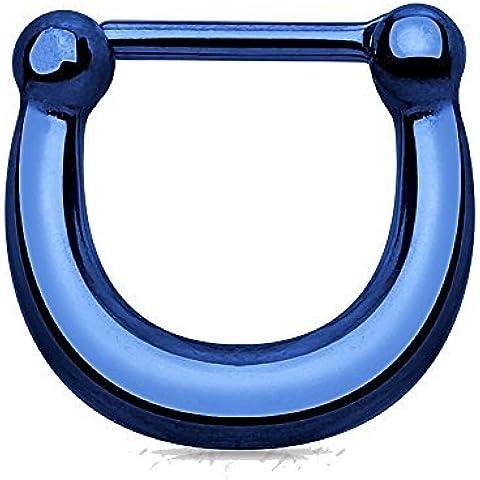 Azul Claro Pulido Metálico Titanio Anodizado Arredondeado Herradura Septum Clicker Piercing Espesor: 1.2mm Longitud: