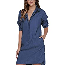 Auxo Camisas Largas Mujer Blusas de Vestidos Algodón Faldas Manga Larga T Shirt V Cuello