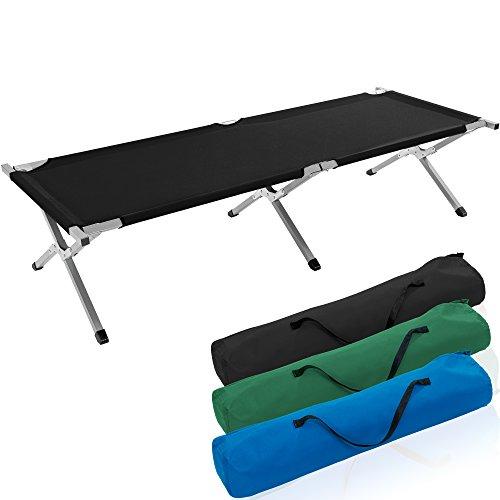TRESKO XXL Campingbett Feldbett 190 x 64 x 44 cm Metallrohr - Belastbarkeit bis 150kg - in verschiedenen Farben (Schwarz)