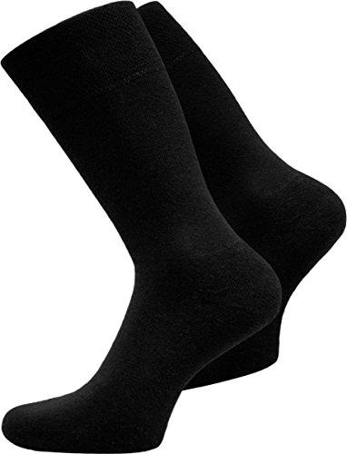 normani 15 Paar Herren Business Socken 100% Baumwolle Arztsocken Apothekersocken Weiss Kochfest - Oeko-TEX® 100 - Top Qualität Farbe Schwarz Größe 43-46 -