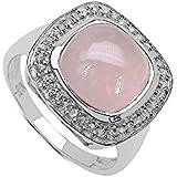 Silvancé - Women's Ring - 925 Sterling Silver - Genuine Rose Quartz - R12239RQ_SSR