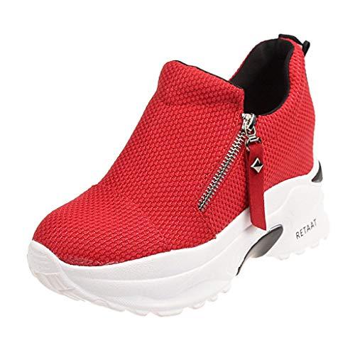 Damen Sneaker Mädchen Mode Laufschuhe Freizeit Leder Freizeitschuhe Sportschuhe mit Reißverschluss... (EU:38, Rot - C)