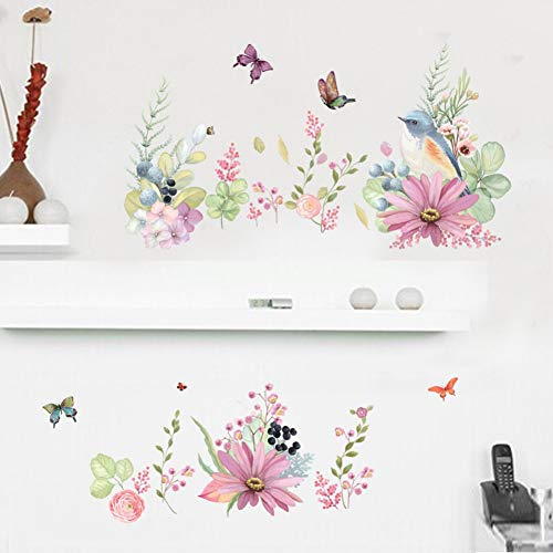 ALXCHD Blühende Sträucher Schmetterling Vögel Wandtattoos Frische Pflanzen Wohnkultur Wandaufkleber Grenze Dekoration Wandapplikation Abnehmbare Vogel-grenze
