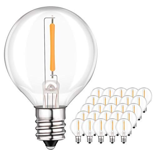 Sunix 1W G40 LED Ersatz Glühlampen, E12 Klarglas Glühlampen 25er Pack, 3000K, 220V-240V, Warmweiß für G40 Lichterketten, Partydekor, Wetterfest -