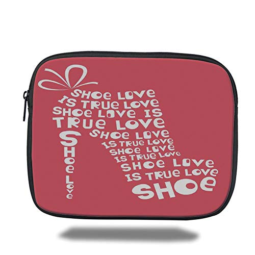 DHNKW Tablet Bag for Ipad air 2/3/4/mini 9 7 inch,Quotes Decor,Shoe Love is  True Love Fashion Colored Woman Shoe Made from Quotes Funny Art,Coral
