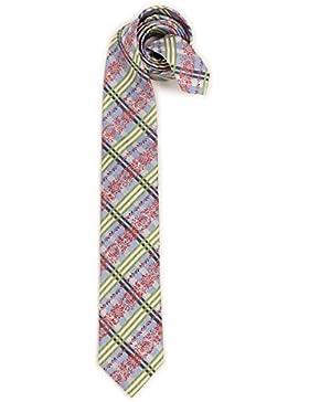 Trachten Krawatte - ORNAMENT-KARO - blau, beige, grasgrün