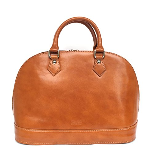 SUPERFLYBAGS Damen Tasche/Handtasche in echtem Glattleder Model Madrid Made in Italy Cognac
