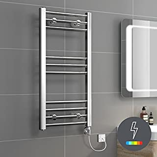 iBathUK | 800 x 400 Thermostatic Electric Heated Towel Rail Bathroom Radiator