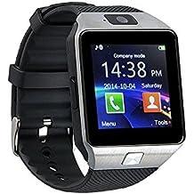 AlbitaStore DZ09 Smart Watch / Reloj inteligente DZ09 (disponible en español) / Reloj Bluetooth / Reloj Android / Reloj para la salud con pantalla táctil y cámara, Tarjeta Sim y puerto para tarjeta TF, batería de larga duración en tiempo de espera para teléfonos smartphone Android y los dispositivos IOS de iPhone (Plata)