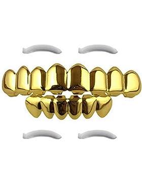 Lukis Vergoldete 8 Zahn Grillz Hip Hop Zahn Schmuck für Obere und Untere Zahnreihe Halloween